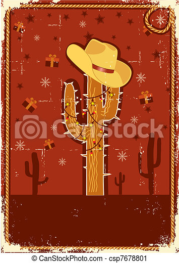 Cowboy christmas card for text.Vintage poster - csp7678801