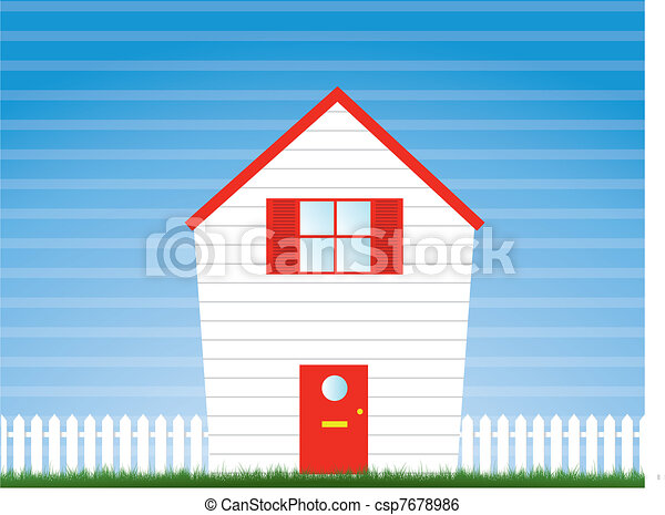 house and garden with picket fence - csp7678986