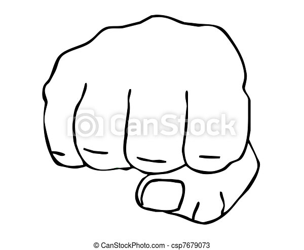 drawing of the fist on white backgr - csp7679073