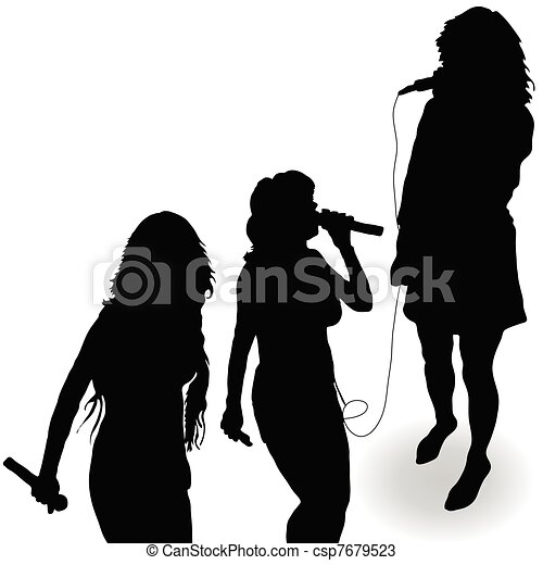 singing girl with a microphone black silhouette - csp7679523