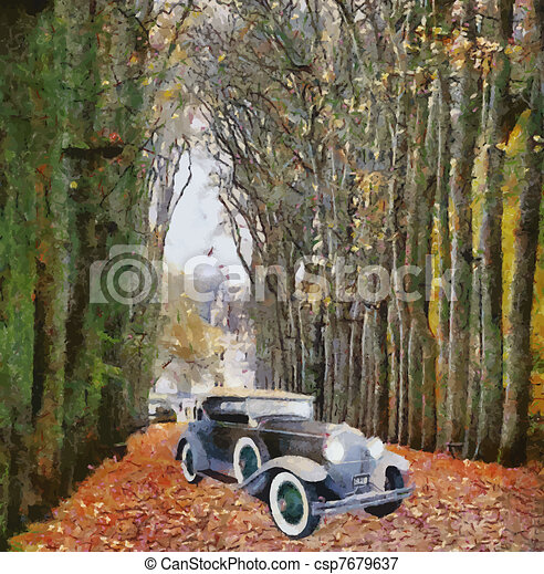 Vector Vintage cars oil painting - csp7679637