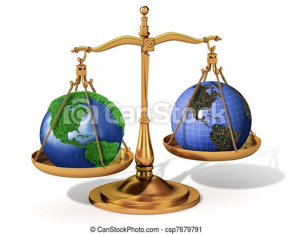 Global justice scale metaphor  - csp7679791
