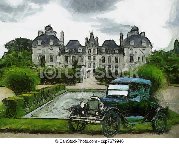 Vector Vintage cars oil painting - csp7679946