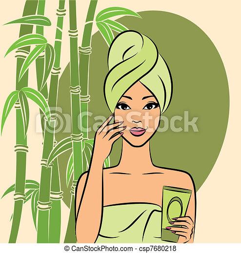 Beautiful girl during beauty ritual - csp7680218