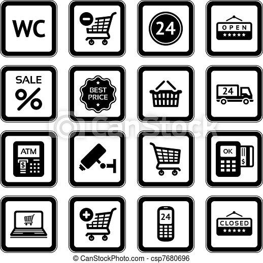 Set pictograms supermarket services - csp7680696
