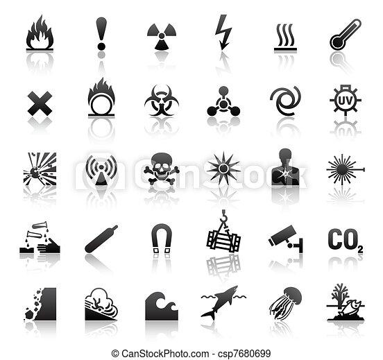 black symbols danger icons - csp7680699