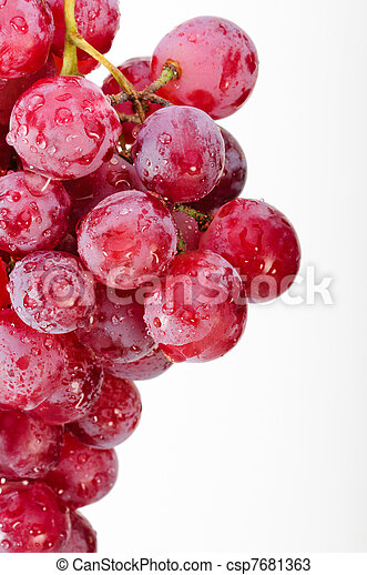 A bunch of red grapes on a white background. - csp7681363