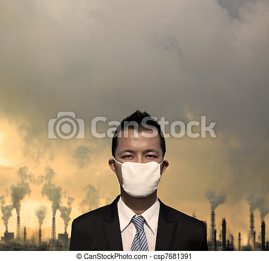 sad bussinessman with  mask and air pollution concept - csp7681391