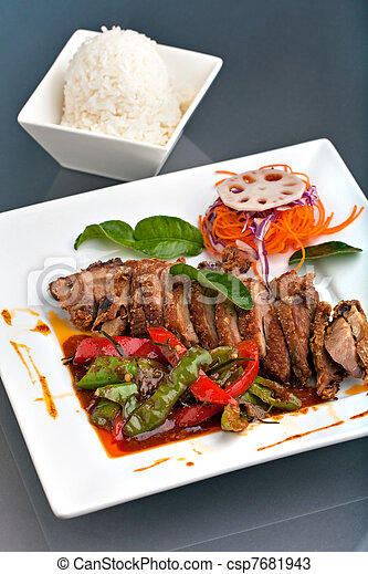 Thai Chile Basil Duck Dish with Rice - csp7681943