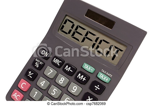 deficit written on display of an old calculator on white background in perspective - csp7682069