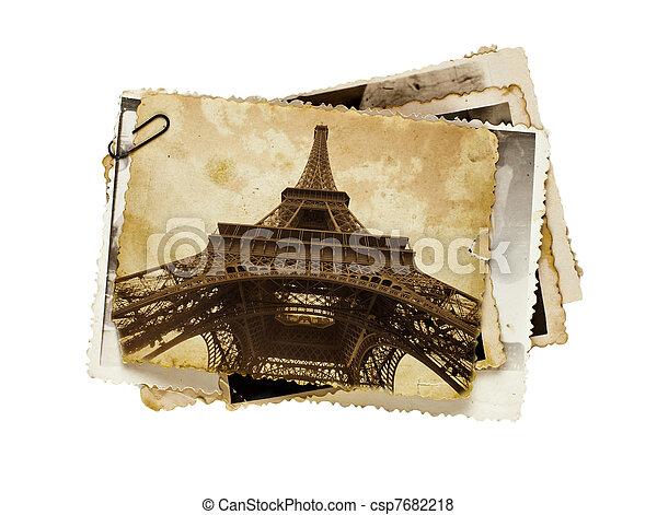 vintage sepia toned postcard of Eiffel tower in Paris  - csp7682218
