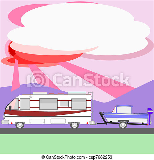 Motor home towing boat at sunset - csp7682253
