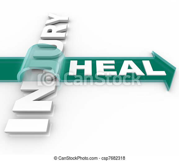 Heal After an Injury Arrow Over Word Recuperation - csp7682318