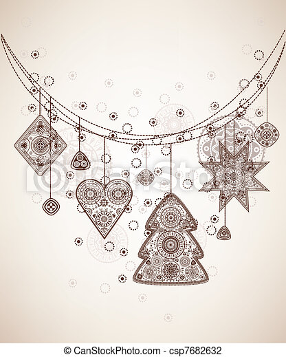 Decorative folk graphic background - csp7682632
