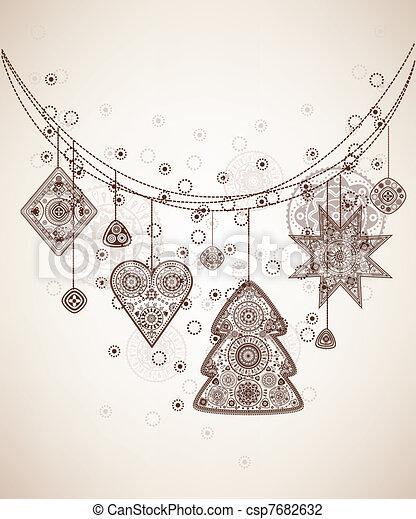 Decorative folk graphic background - csp7682632