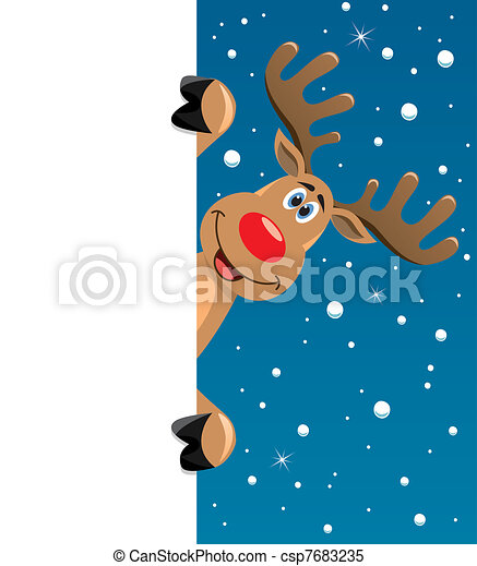 rudolph deer holding blank paper - csp7683235