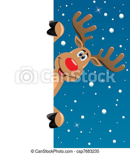 rudolph deer holding blank paper - csp7683235
