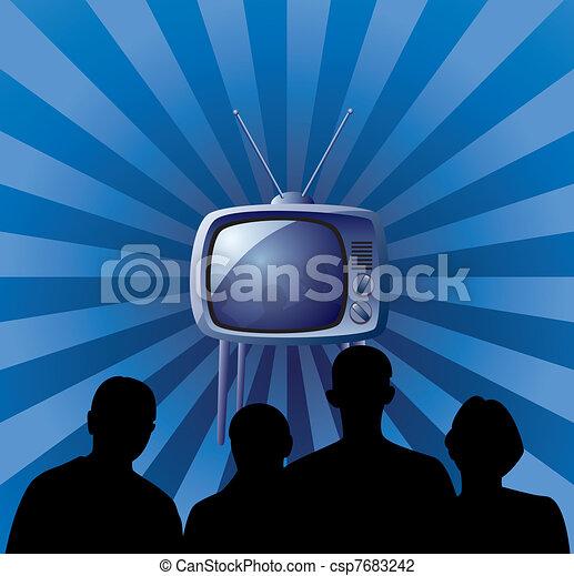 family watching retro tv set - csp7683242