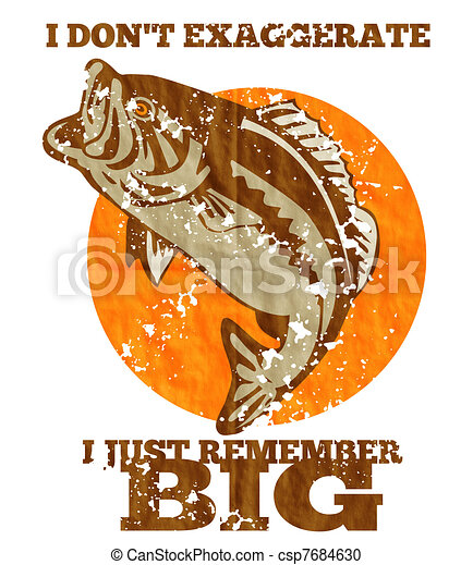 """illustration of a largemouth bass jumping done in retro style with words """"i don't exaggerate i just remember big."""" - csp7684630"""