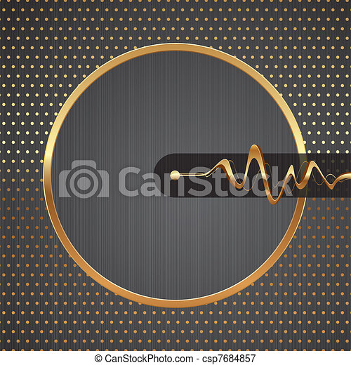 Abstract vector hi-tech illustration with golden round frame, equalizer waves & dotted pattern on a metal texture background - csp7684857