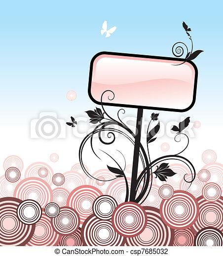 Blank tablet, flora and circles - csp7685032