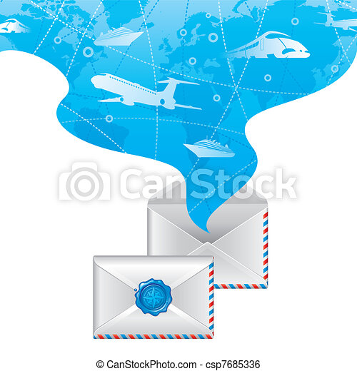 Closed letter with wax seal and opened letter with spirit of travel - Vector illustration - csp7685336