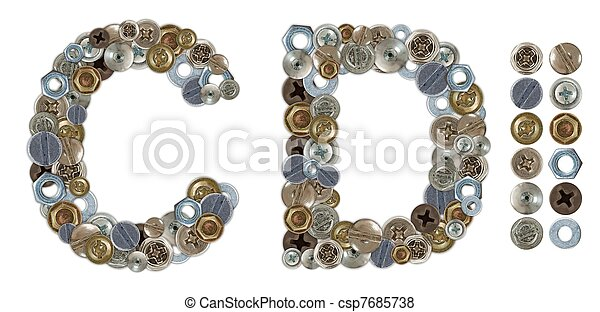 Characters C and D made of nuts and bolts head - csp7685738