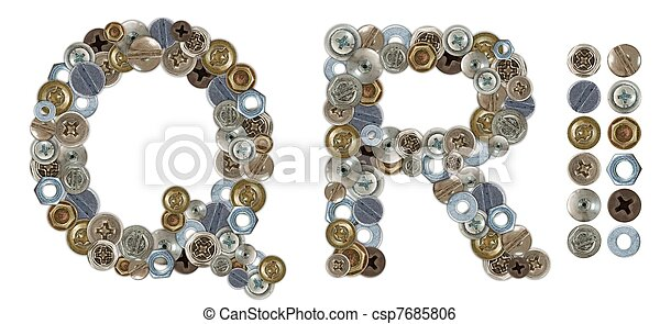 Characters Q and R made of nuts and bolts head - csp7685806