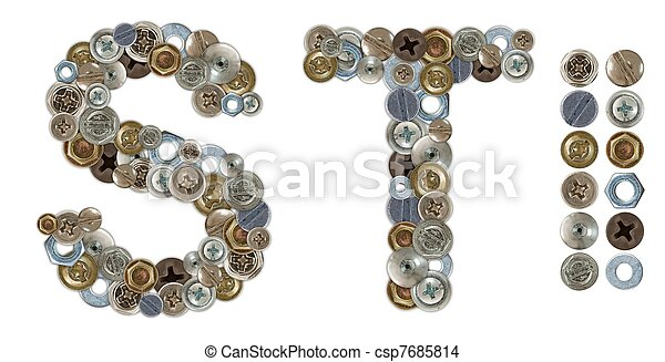 Characters S and T made of nuts and bolts head - csp7685814
