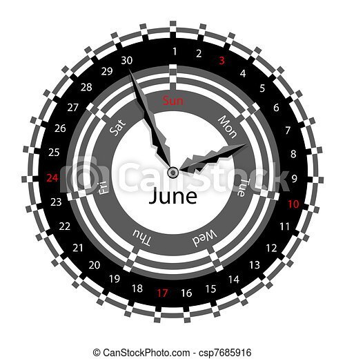 Creative idea of design of a Clock with circular calendar for 2012.  Arrows indicate the day of the week and date. June - csp7685916