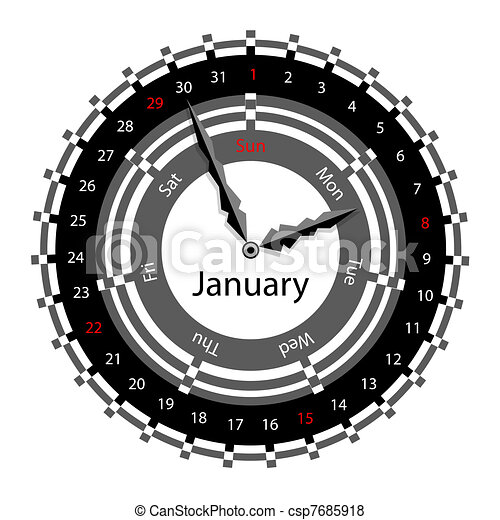 Creative idea of design of a Clock with circular calendar for 2012.  Arrows indicate the day of the week and date. January - csp7685918