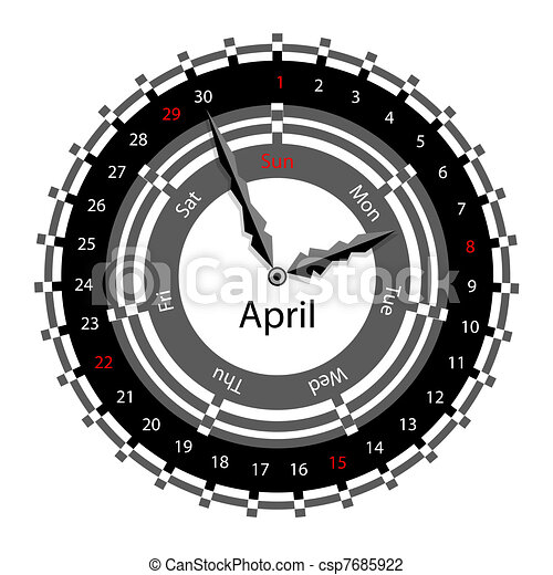 Creative idea of design of a Clock with circular calendar for 2012.  Arrows indicate the day of the week and date. April - csp7685922