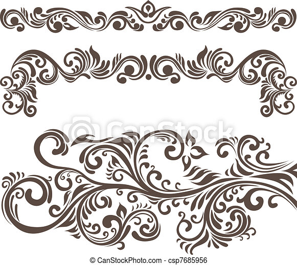 Clip Art Vector of Floral design elements - Hand-drawn floral ...