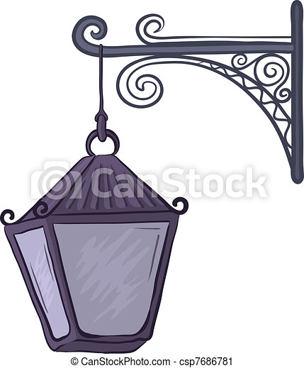 Vector Clip Art of Antique lantern - Vintage nonluminous ...