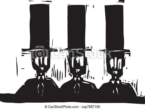 Three men in Top Hats - csp7687180