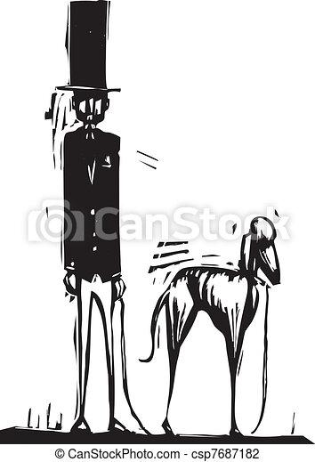 Tall Man with Dog - csp7687182