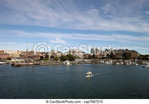 Victoria BC Inner Harbour City Skyline - csp7687215