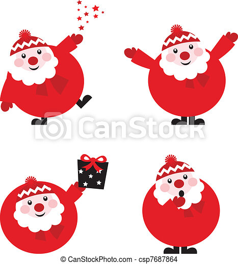 Collection of funny red Santa isolated on white, vector   - csp7687864