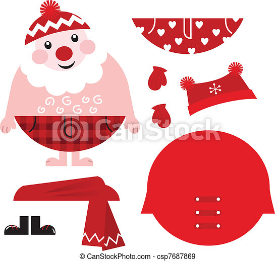 Dress up your Santa! Christmas retro icons & design elements