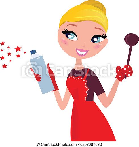 Cute Christmas cooking & cleaning Housewife, retro  - csp7687870