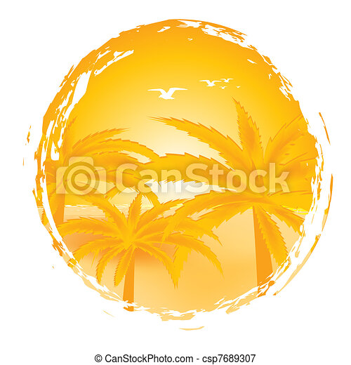 Summer landscape with palms and seaside - csp7689307