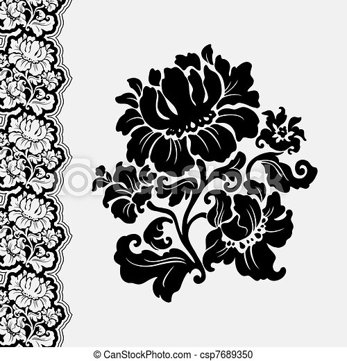 Lace Flowers Drawings Flower And Border Lace Stock