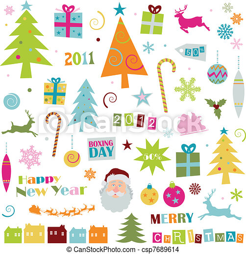EPS Vector of Retro Christmas elements - Collection of retro ...