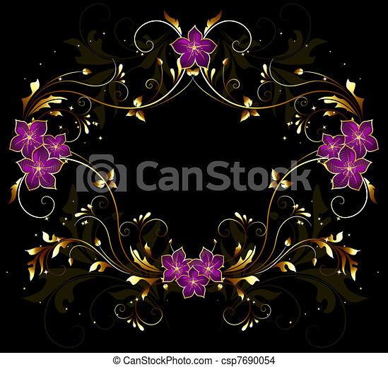 vintage stylized floral frame  - csp7690054