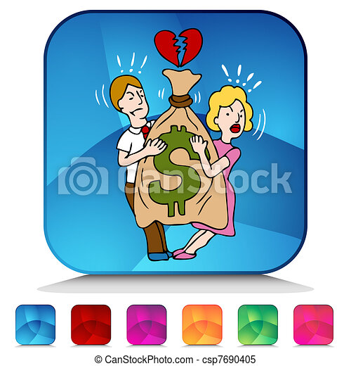 Couple Fighting Over Money Mosaic Crystal Button Set - csp7690405