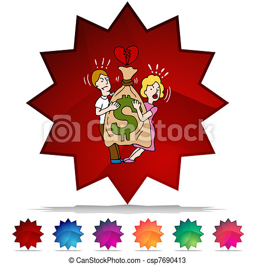 Couple Fighting Over Money Mosaic Crystal Button Set - csp7690413