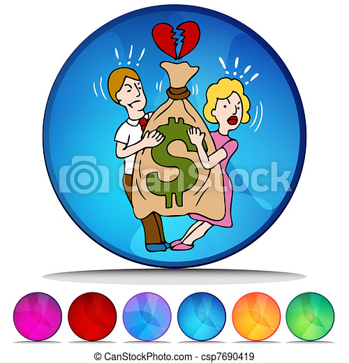 Couple Fighting Over Money Mosaic Crystal Button Set - csp7690419