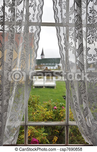 Pictures Of Looking Through Window With Lace Curtains Onto