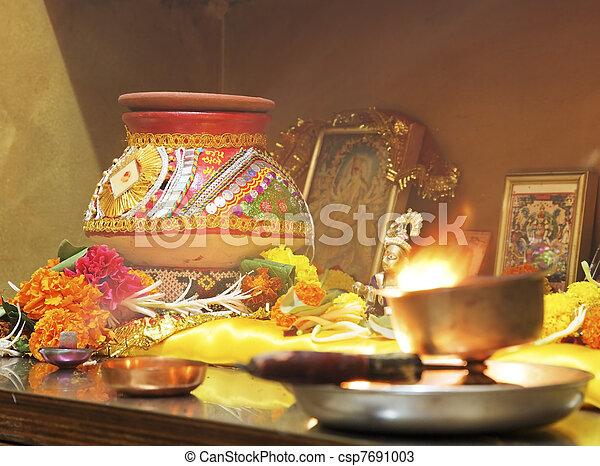 Hindu Hinduism religion religious Navratri event hom - csp7691003