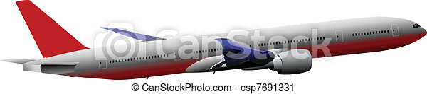 Passenger Airplanes.  Colored Vect - csp7691331